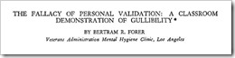 Forer Fallacy of Personal Validation : Inclass Experiment